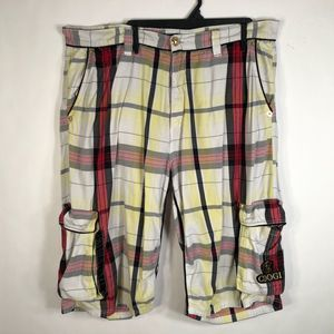 Coogi 42 Shorts Plaid Embellished Spell Out 588